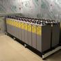 24 batteries de 2 volts, correspondantes à un système de 48 volts et de 2600 Ah.